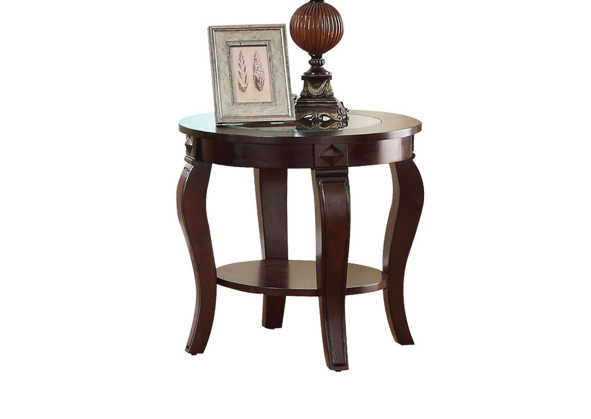 Riley Walnut/Clear Glass End Table,Acme