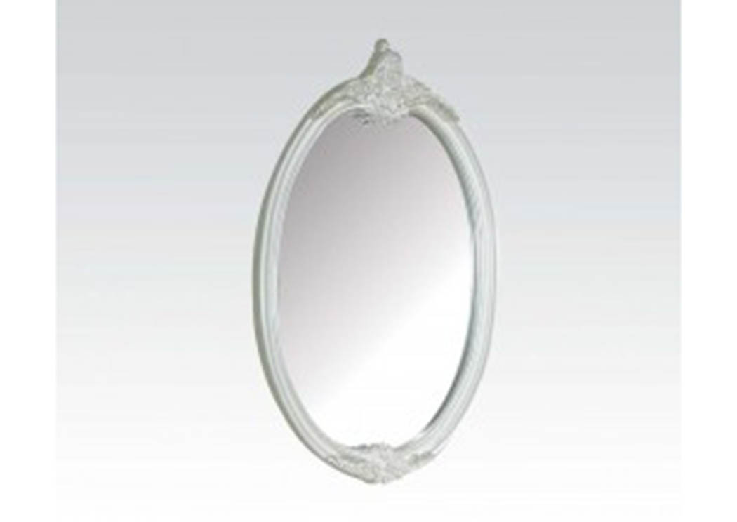 Pearl White/Gold Brush Accent Oval Mirror,Acme