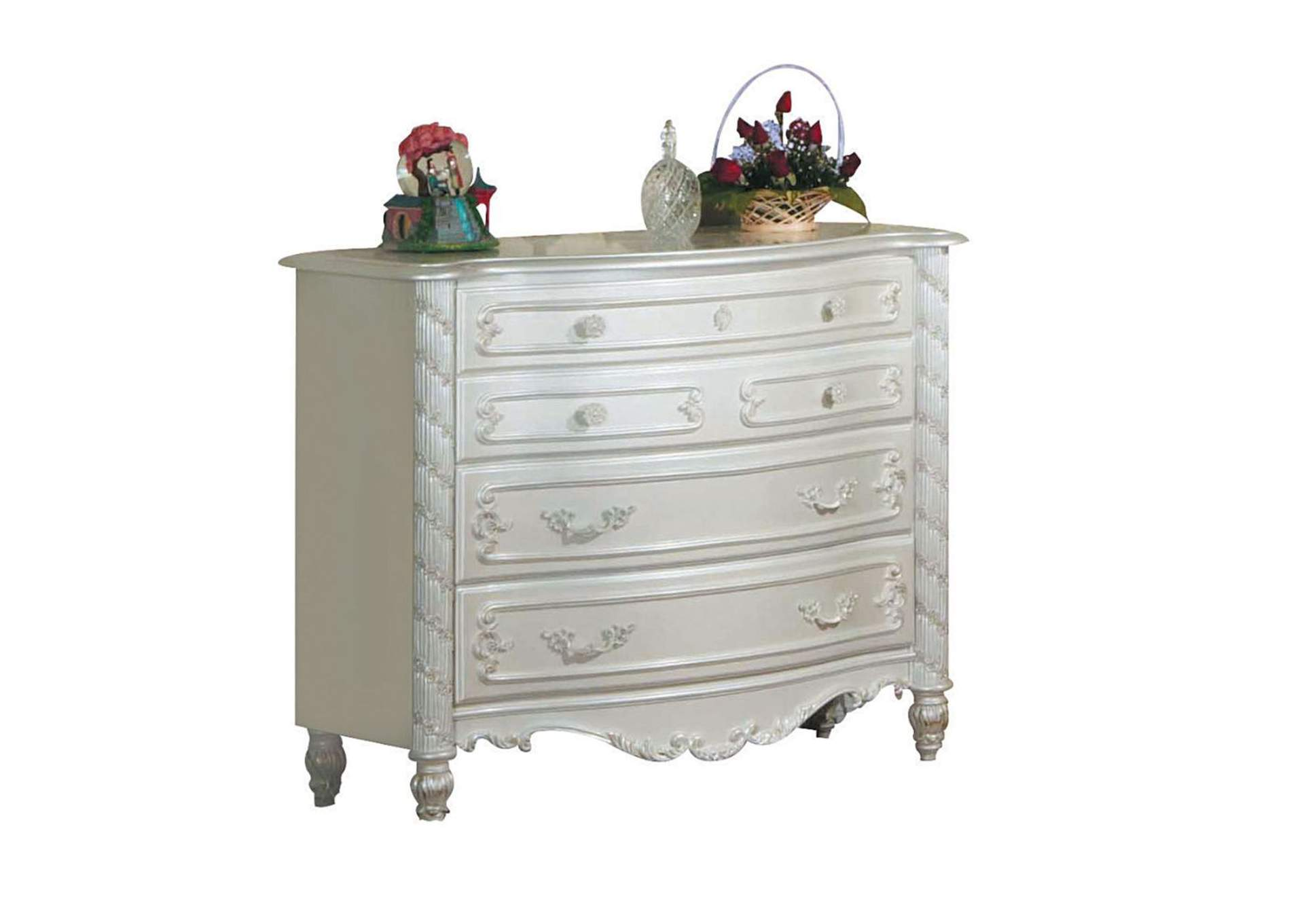 Pearl White/Gold Brush Accent Dresser (Single),Acme