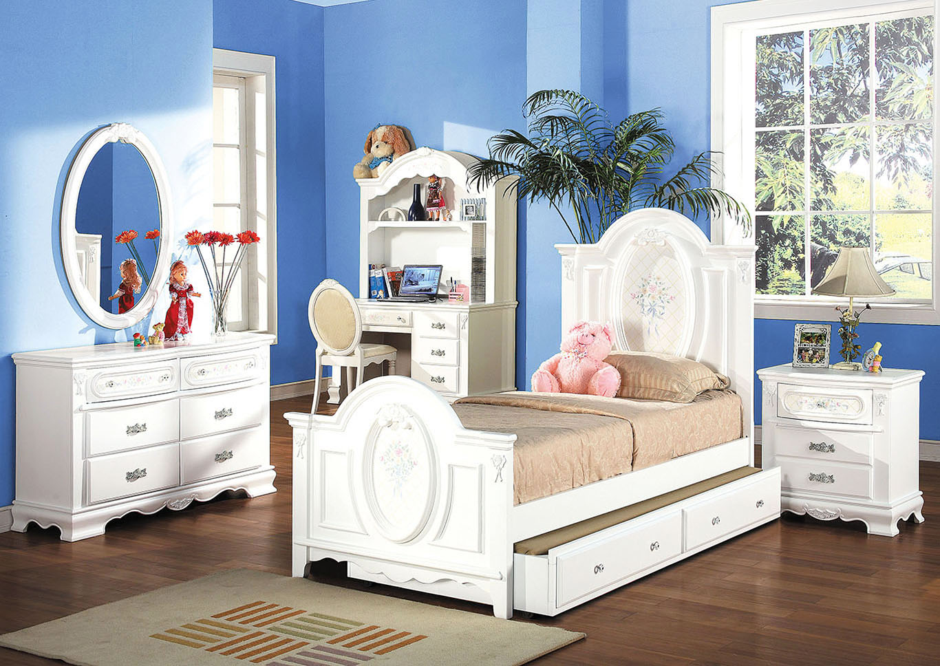 Flora White Twin Bed,Acme