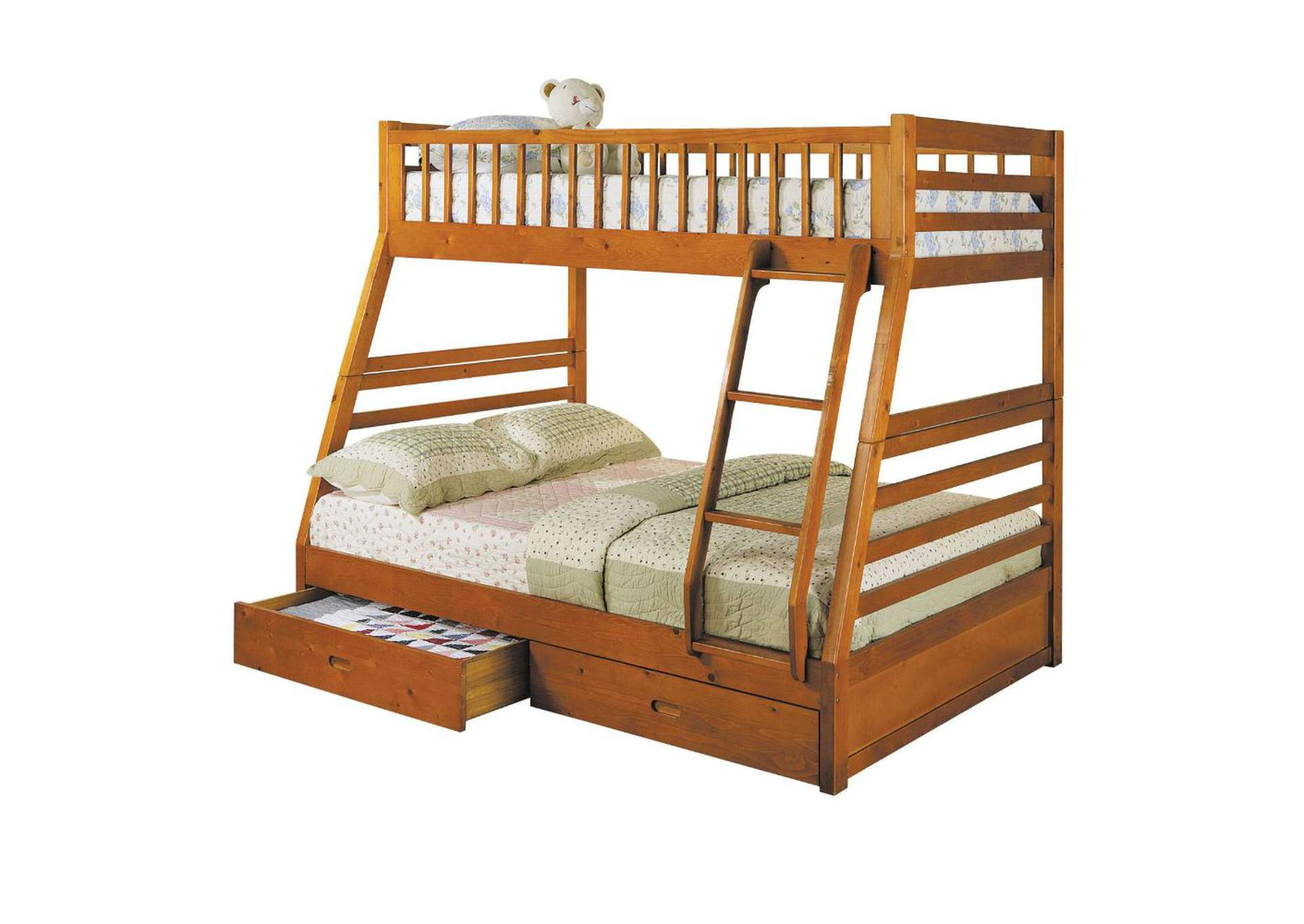 Jason Honey Oak Twin/Full Bunk Bed w/2 Drw,Acme