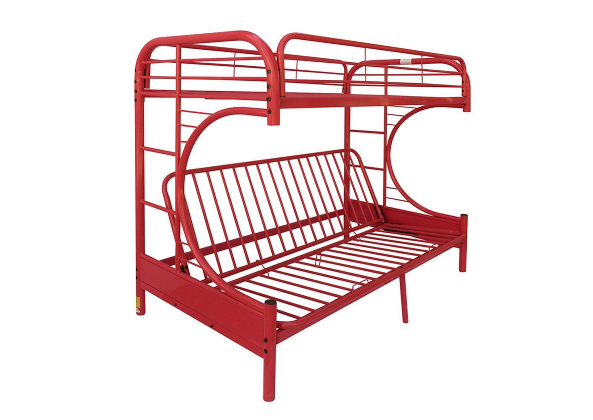 Red Eclipse Twin Full Futon Bunk Bed Harlem Furniture