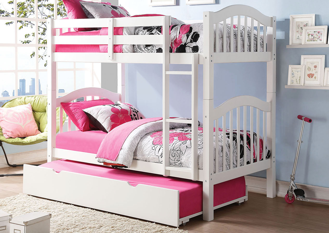 Heartland White Twin/Twin Bunk Bed w/Trundle,Acme