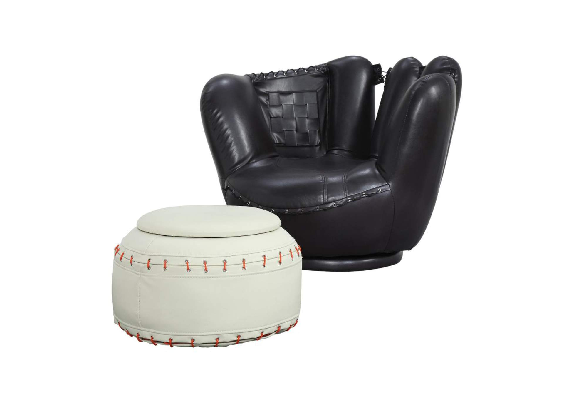 All Star Baseball Black/White Ottoman Chair and Ottoman (Set of 2),Acme