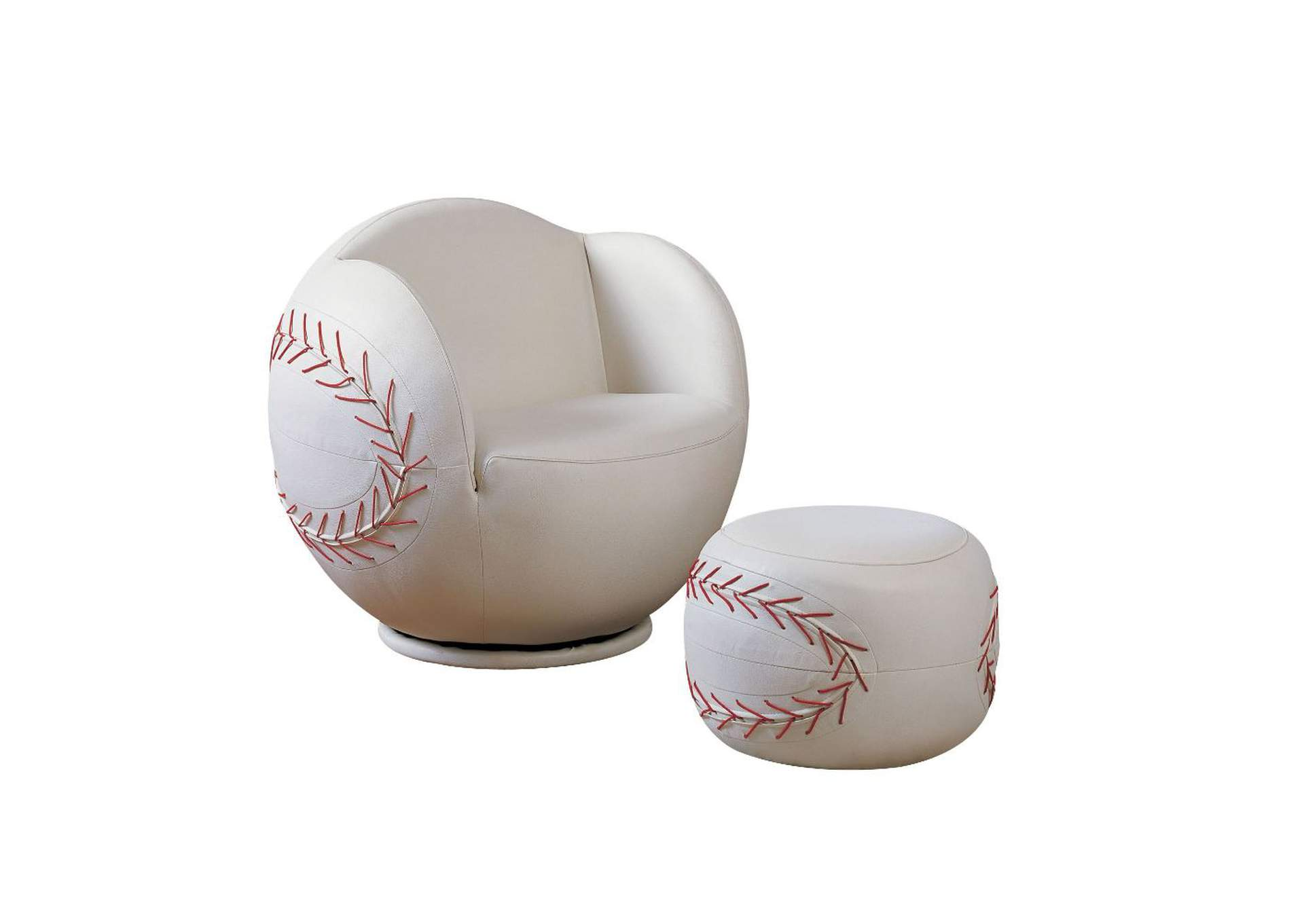 All Star White 2Pc Pk Chair & Ottoman,Acme
