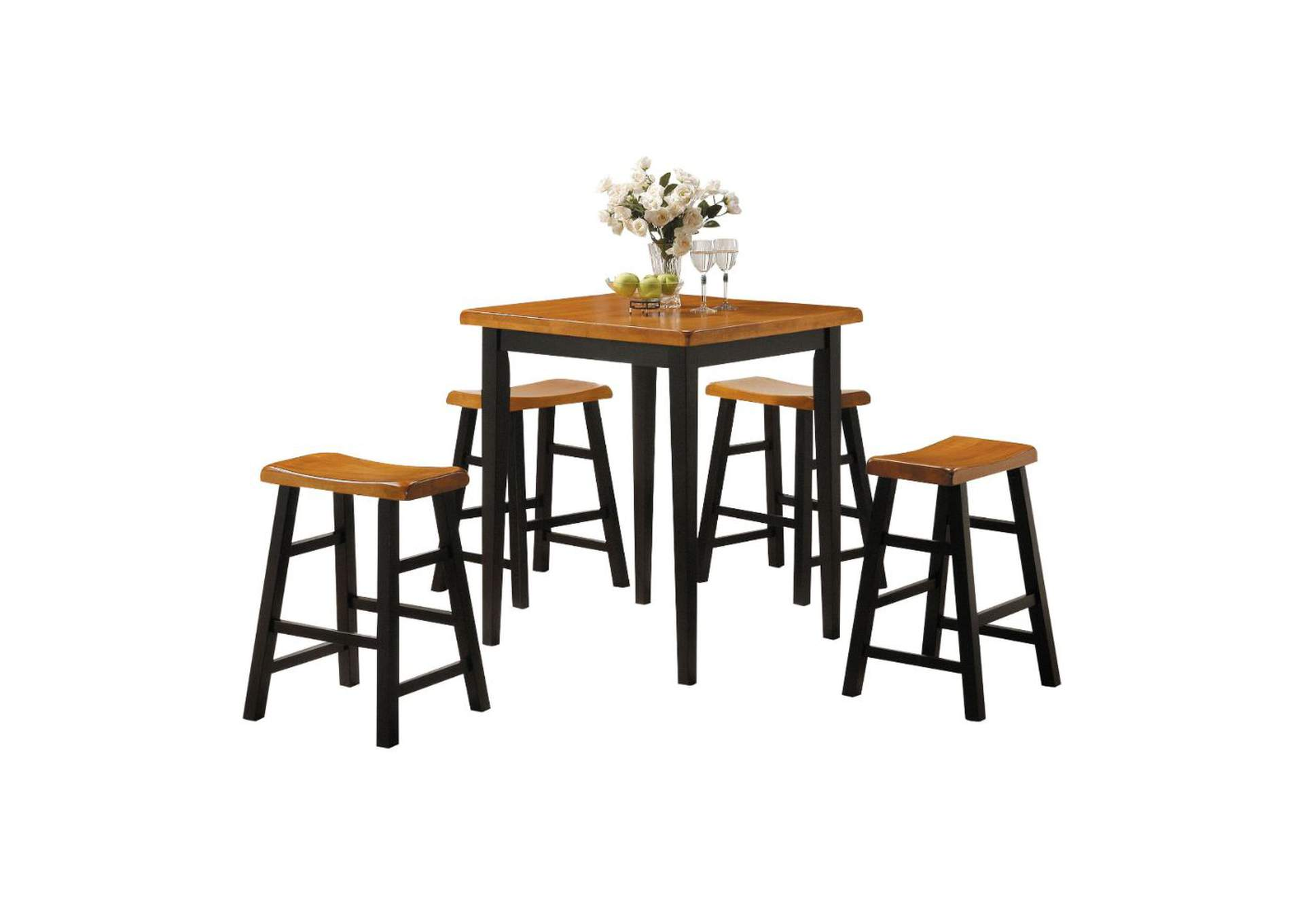 Gaucho Oak/Black 5Pc Pk Counter Height Set,Acme