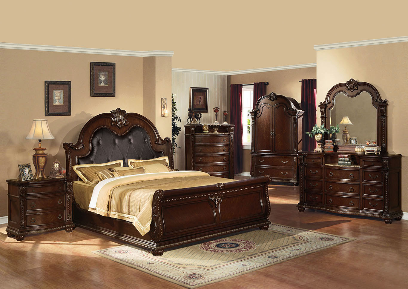 Anondale Espresso/Cherry Queen Upholstered Bed w/Dresser and Mirror,Acme