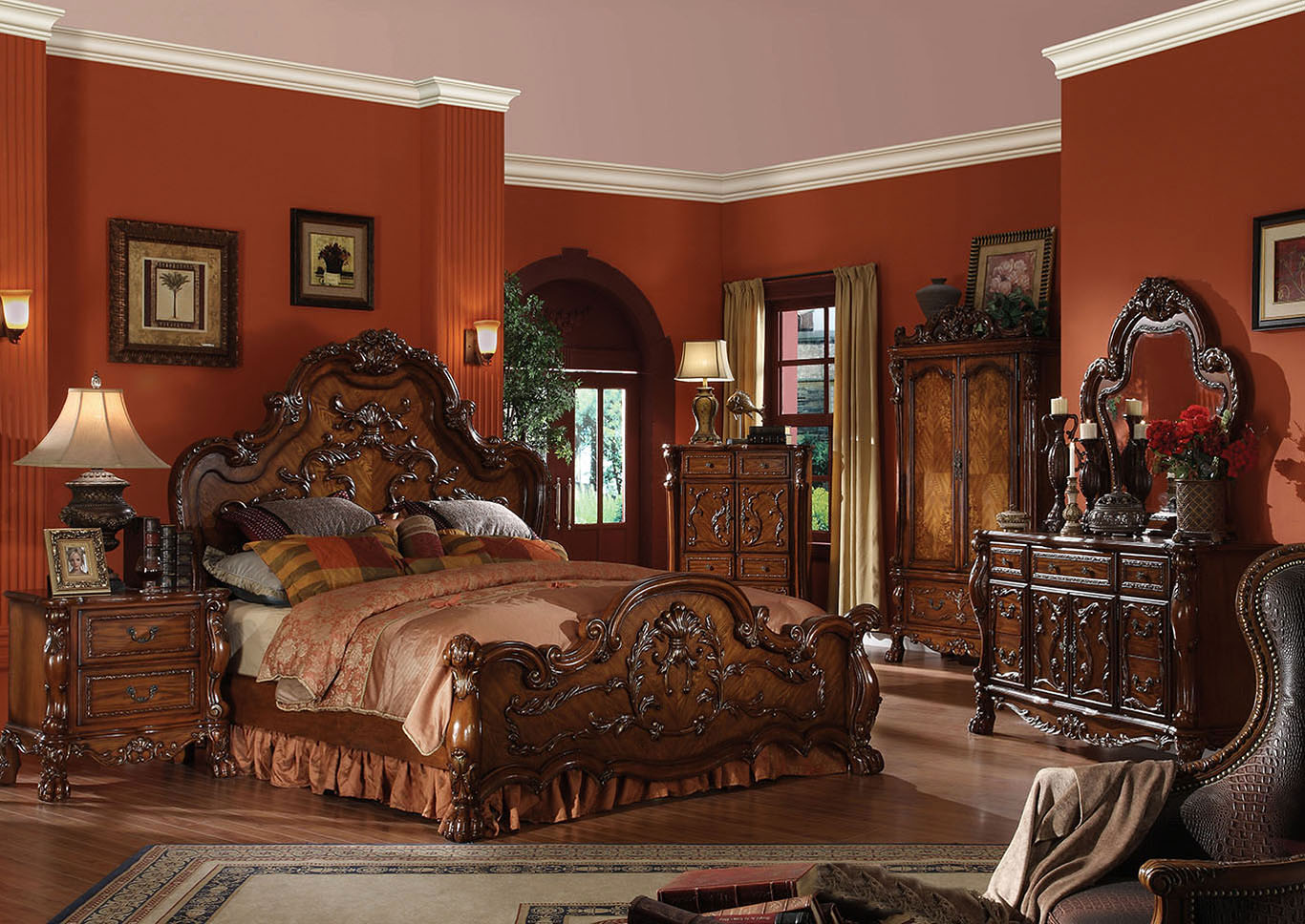 Dresden Cherry Oak California King Panel Bed w/Dresser and Mirror,Acme