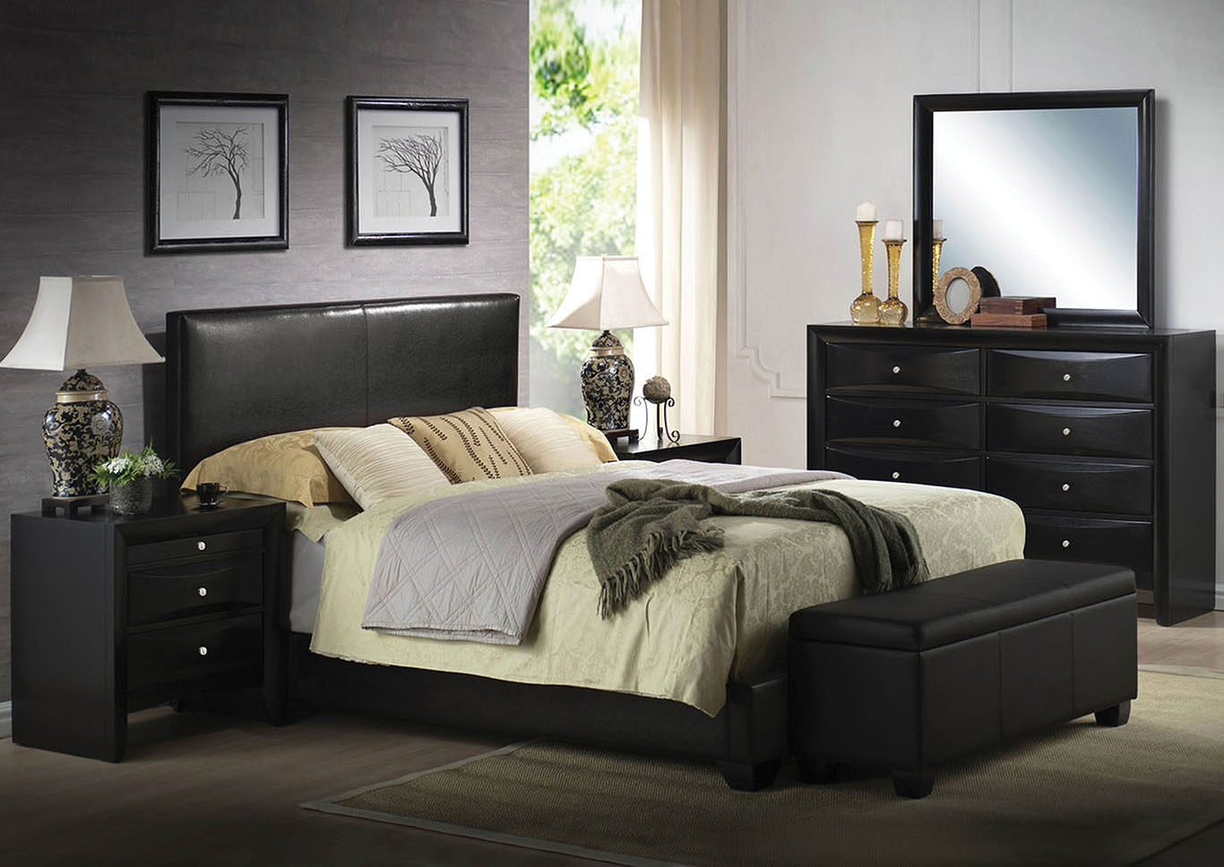 Ireland III Black Eastern King Platform Bed w/Dresser and Mirror,Acme
