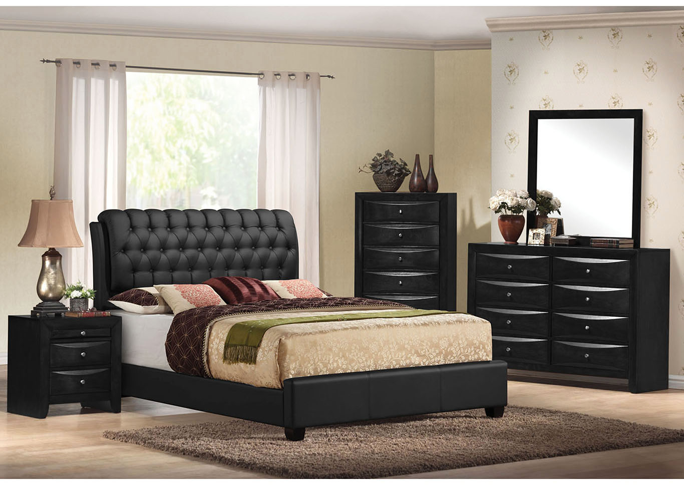 Ireland II Black Upholstered Queen Bed w/Dresser and Mirror,Acme