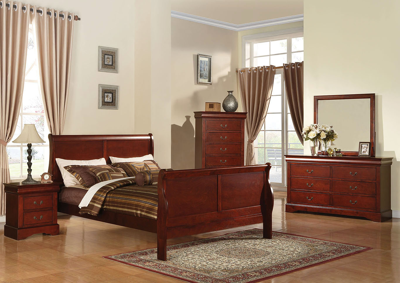 Louis Philippe III Cherry Eastern King Bed,Acme