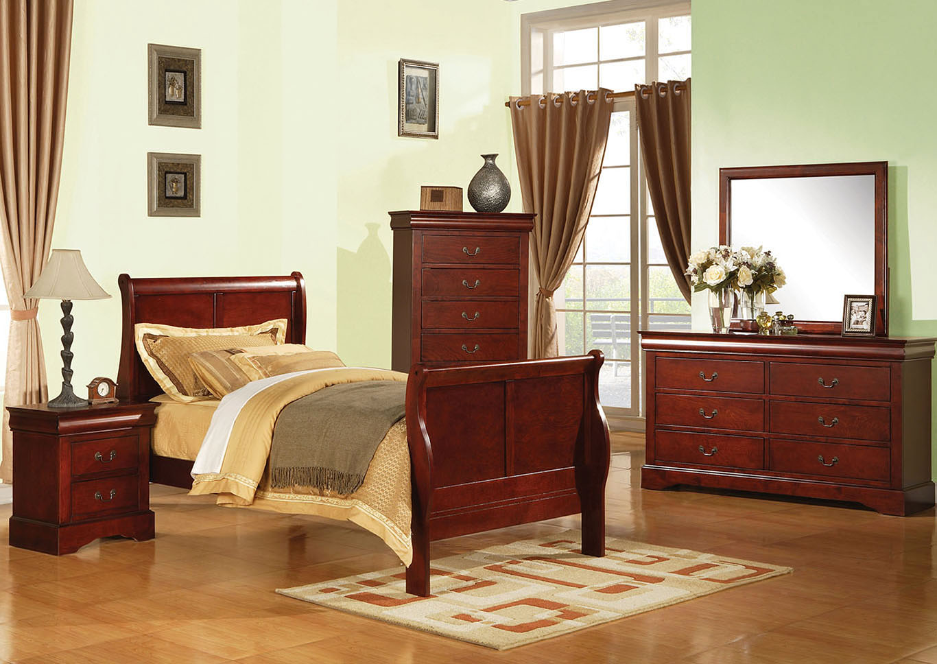 Louis Philippe III Cherry Twin Bed,Acme