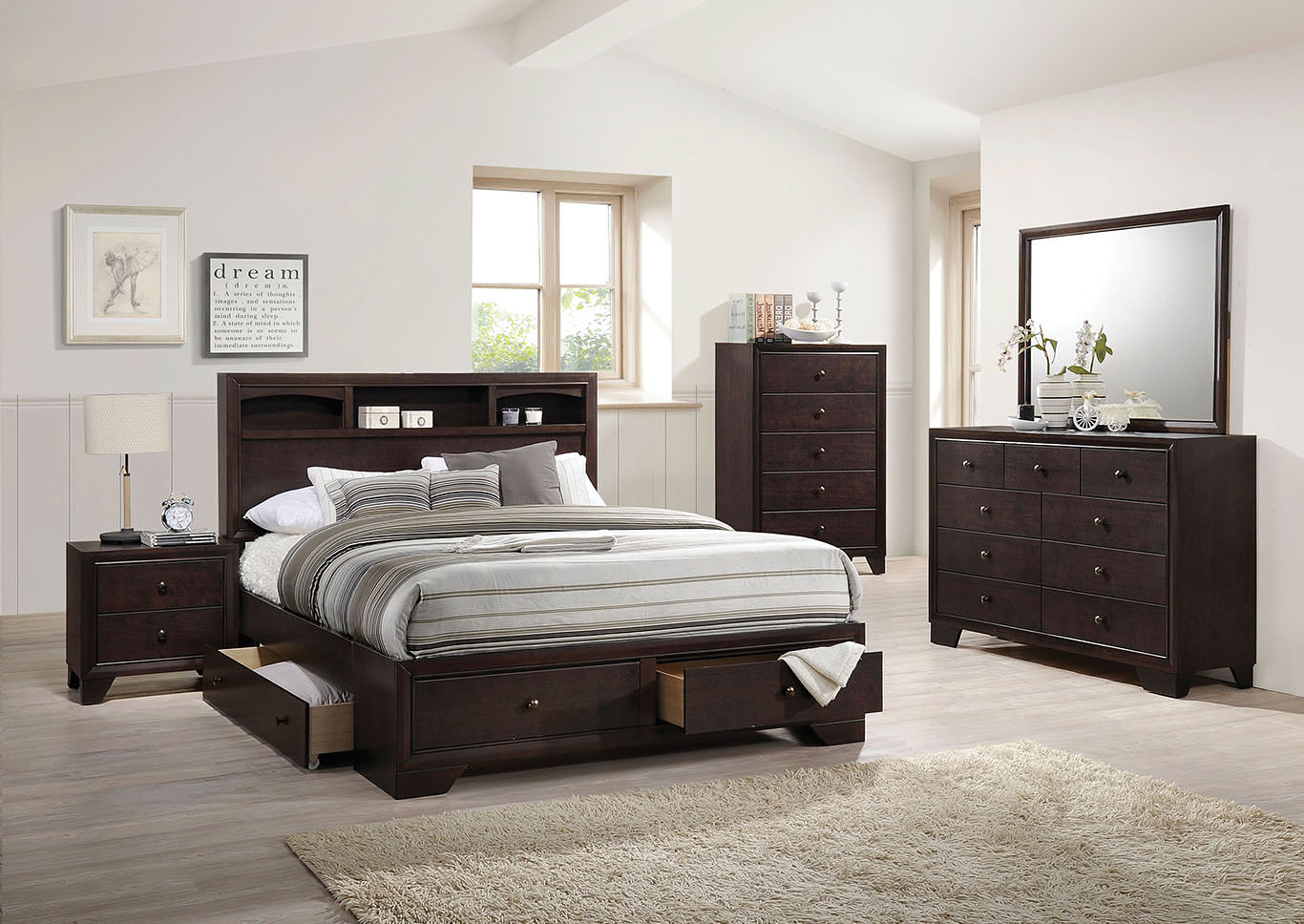 Madison II Espresso Queen Storage Bed w/Dresser and Mirror,Acme