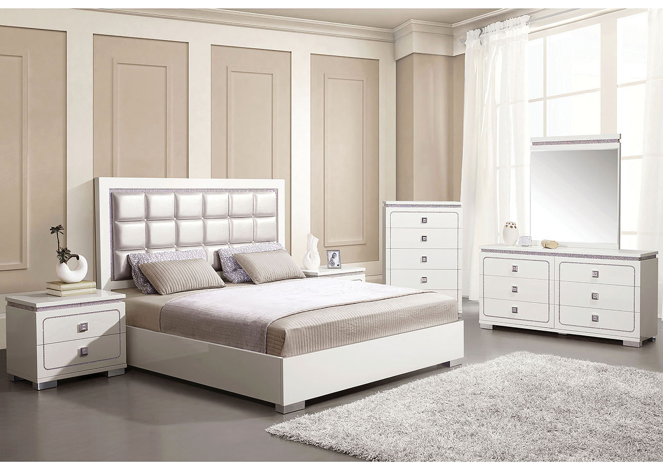 Valentina Pearl PU & White High Gloss Queen Bed,Acme