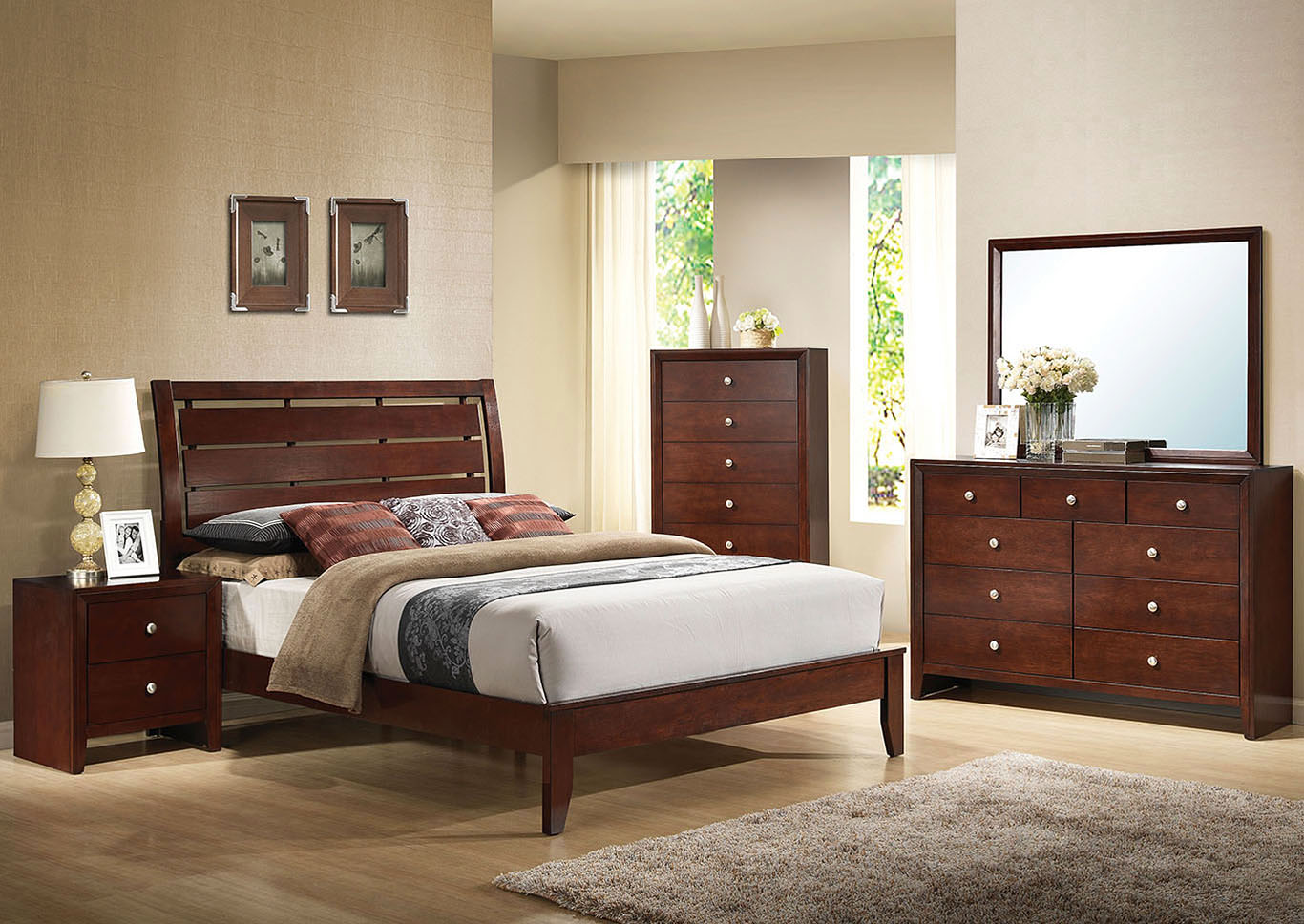 Ilana Brown Eastern King Platform Bed w/Dresser and Mirror,Acme