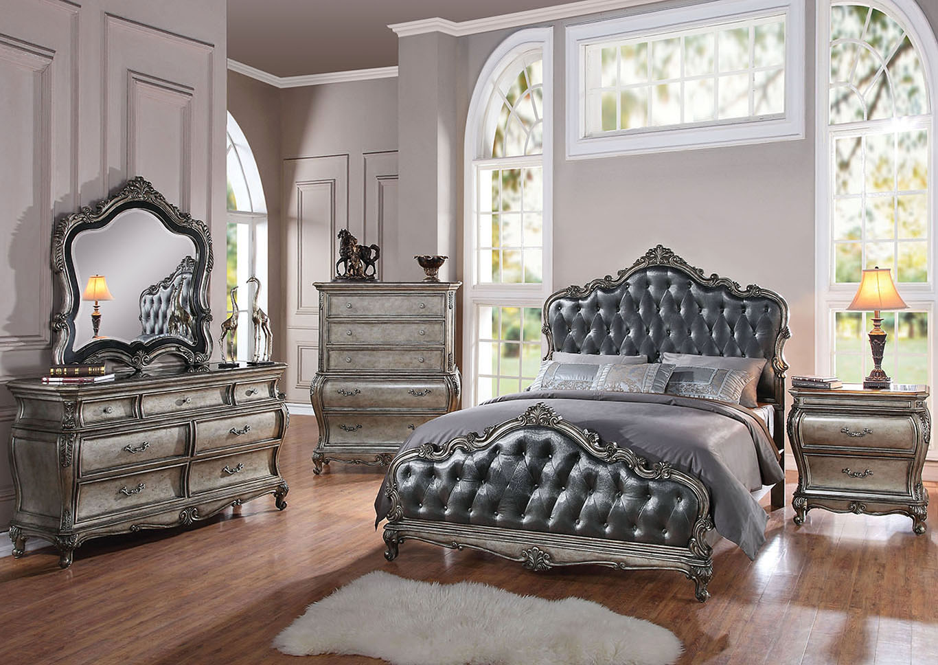 Chantelle Gray/Platinum Eastern King Bed,Acme