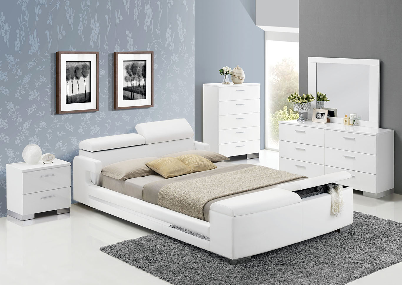 Layla White Queen Bed,Acme