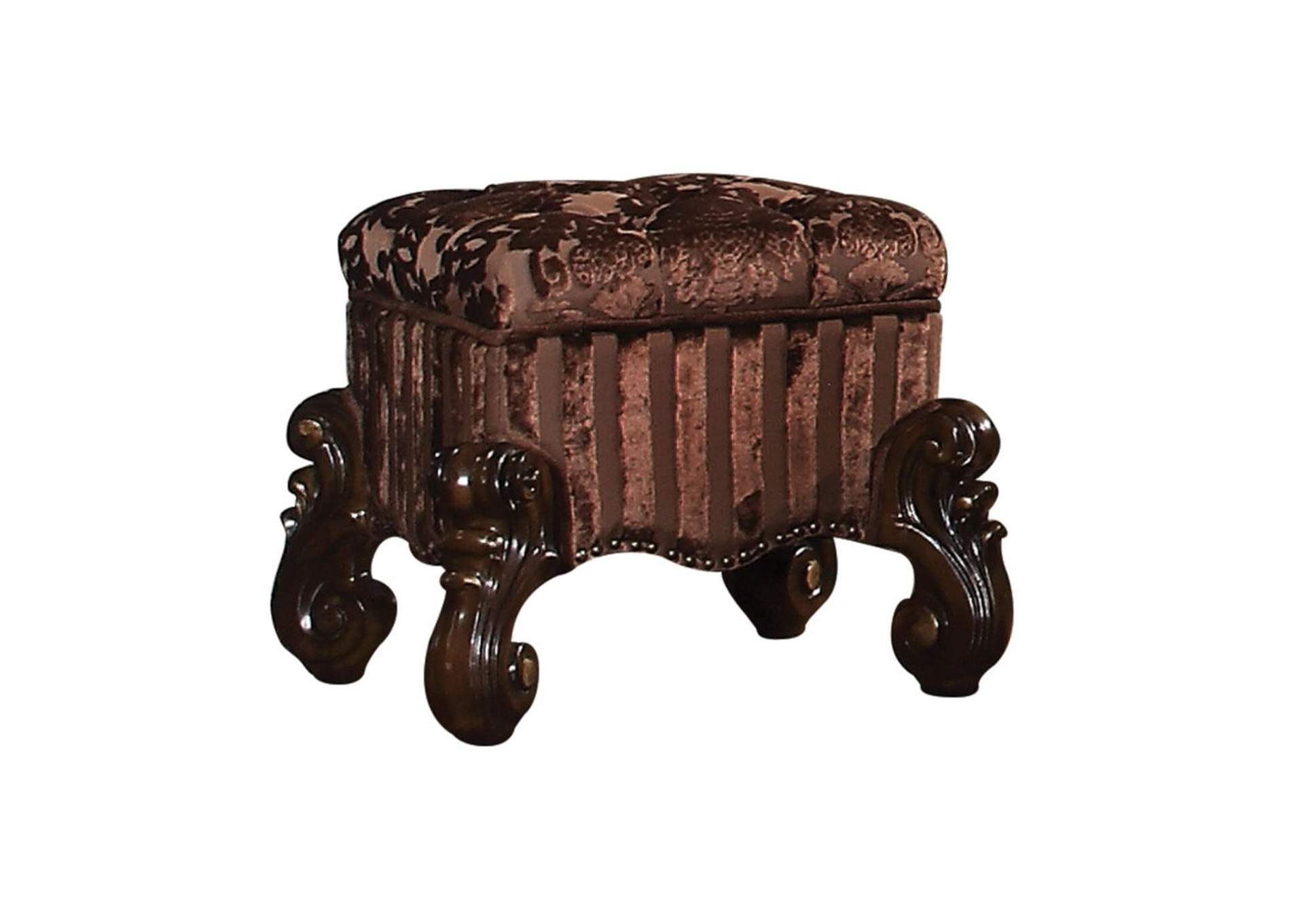 Versailles Fabric & Cherry Oak Vanity Stool,Acme