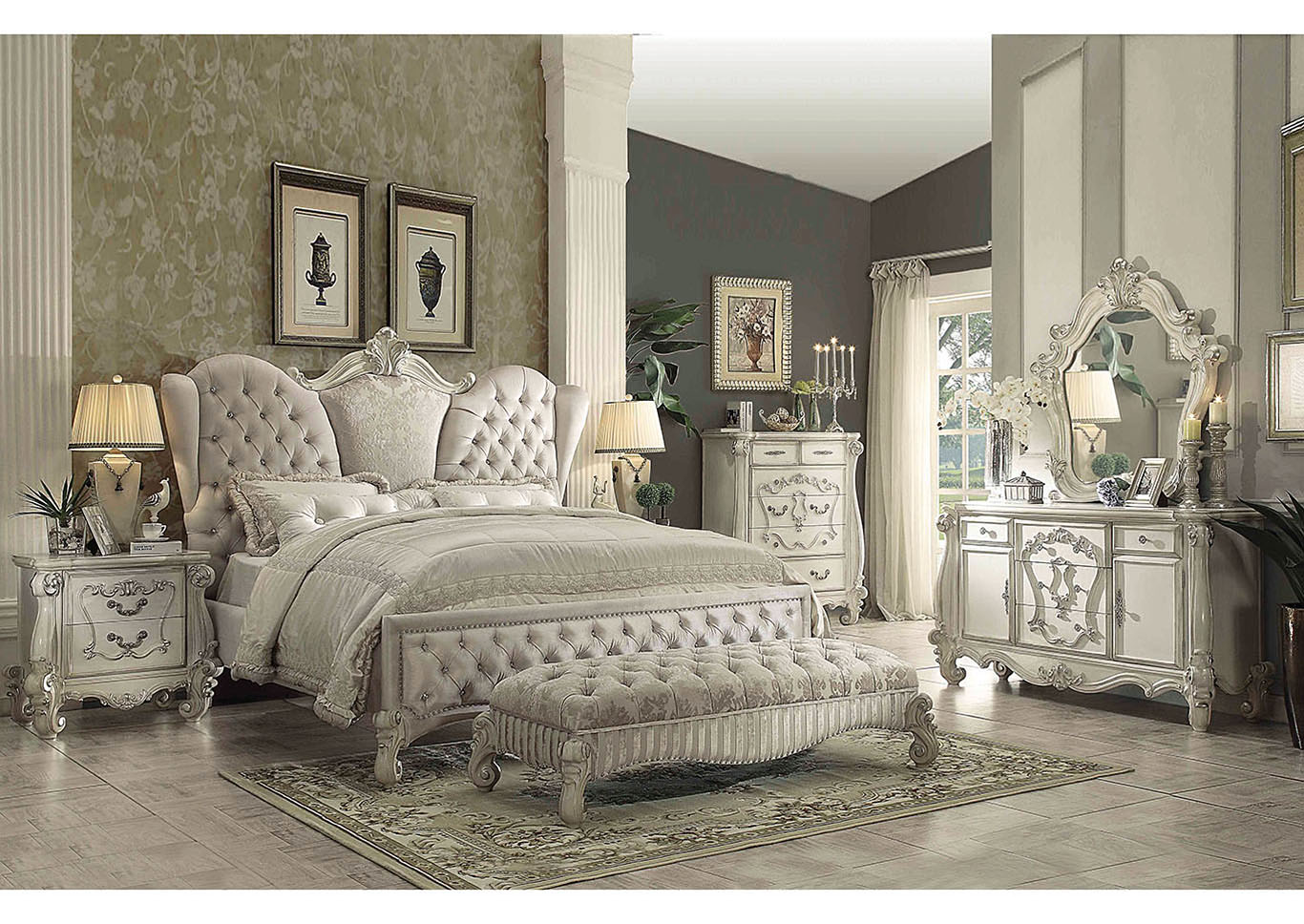 Versailles Ivory California King Bed w/Dresser and Mirror,Acme