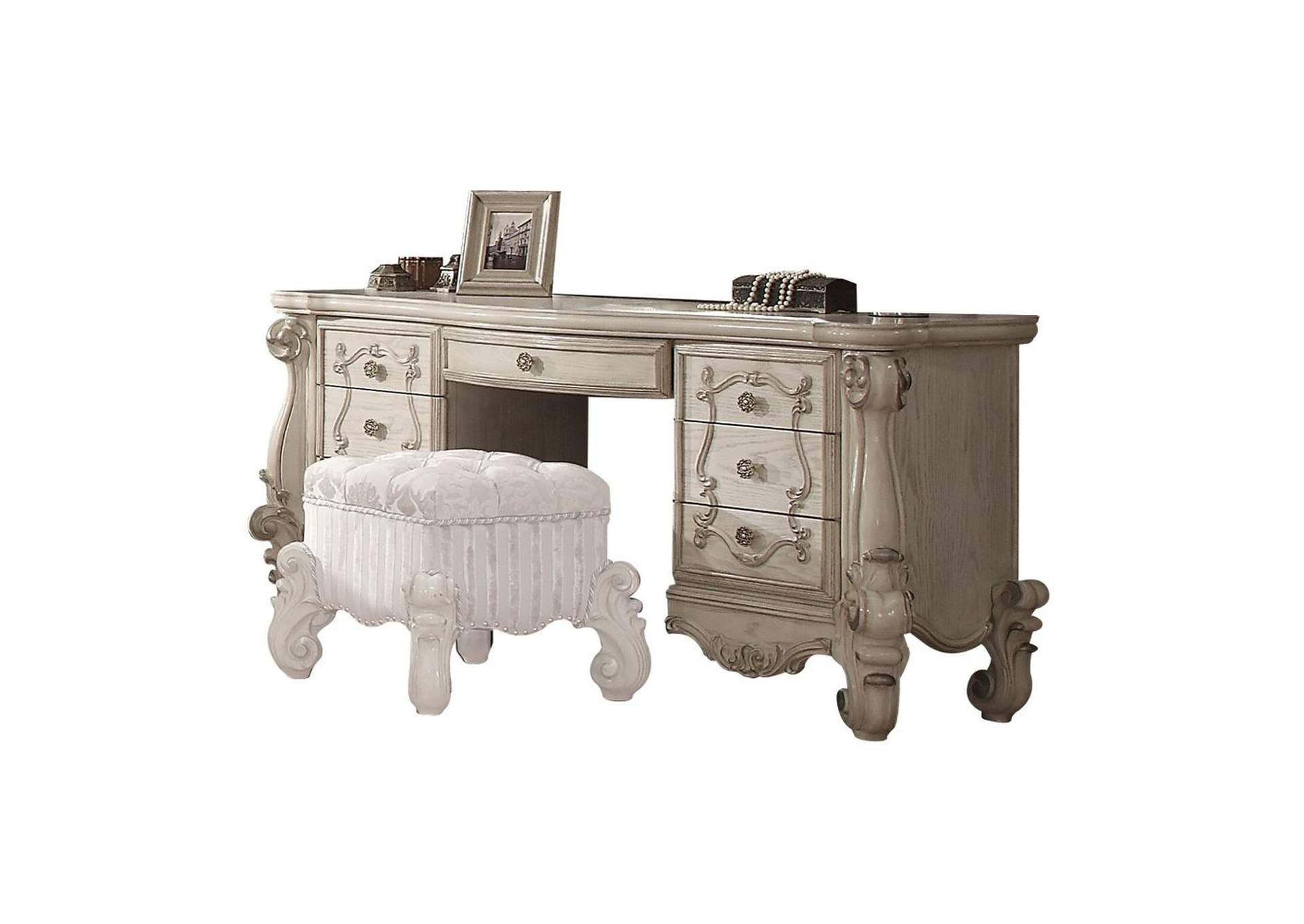 Versailles Bone White Vanity Desk,Acme