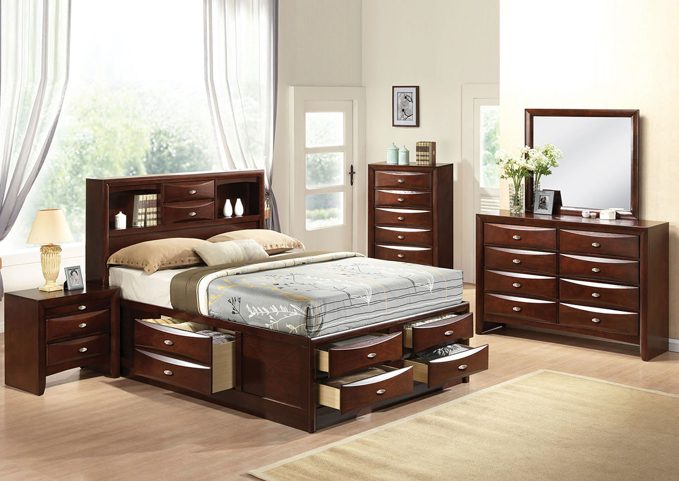 Ireland Espresso Full Storage Bed w/Dresser and Mirror,Acme