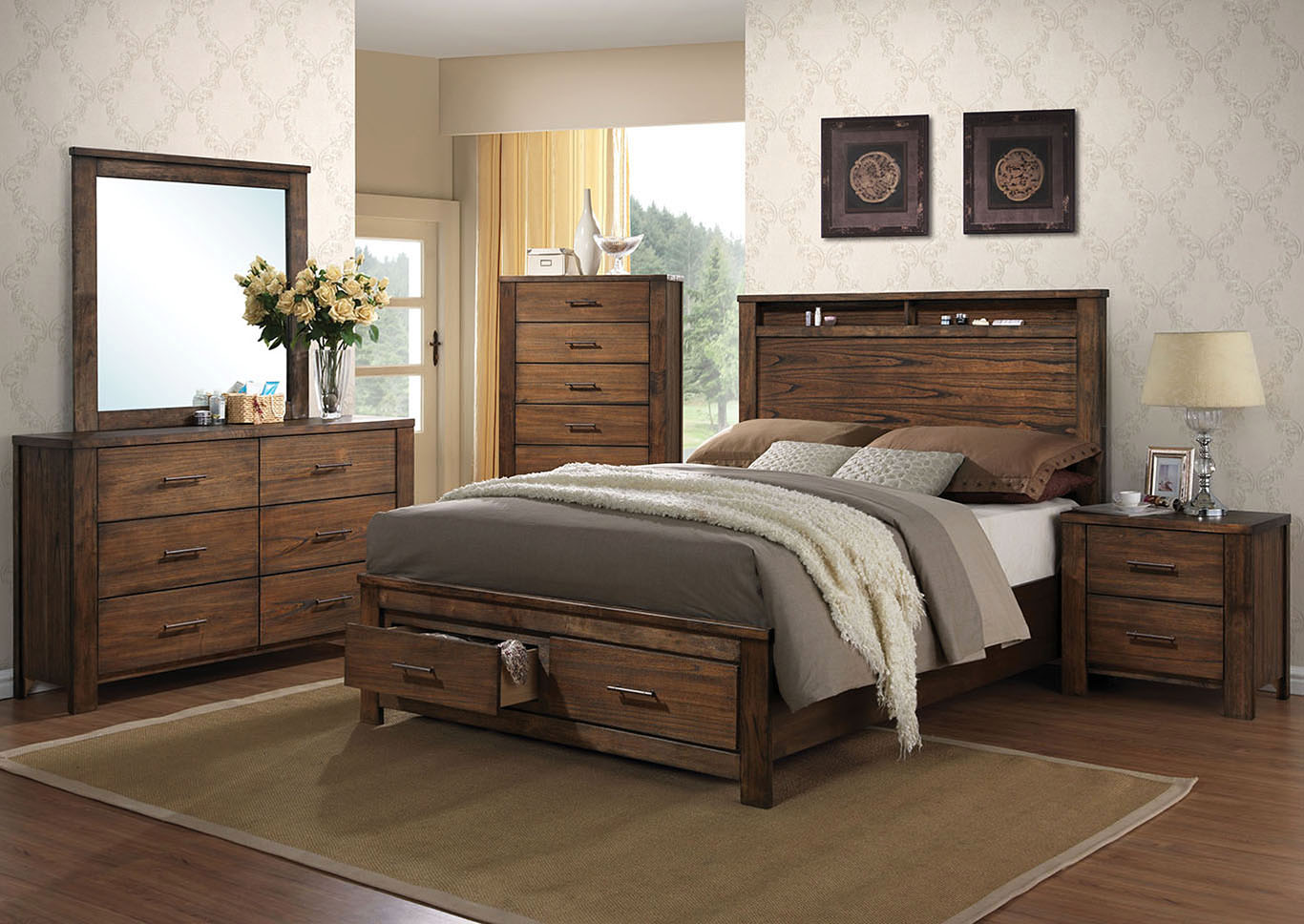 Merrilee Oak Queen Storage Bed w/Dresser and Mirror,Acme