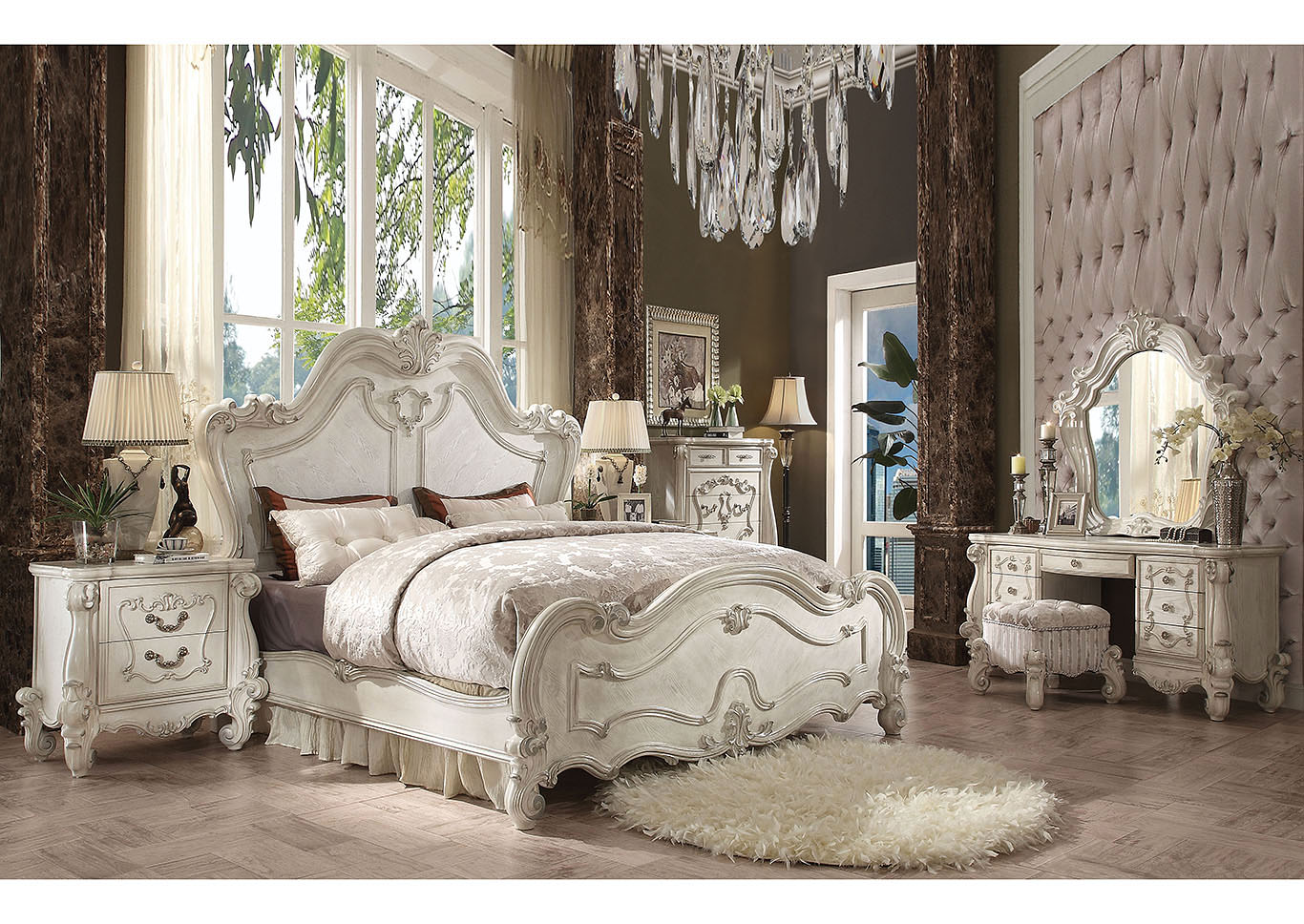 Versailles Bone White Eastern King Bed w/Dresser and Mirror,Acme