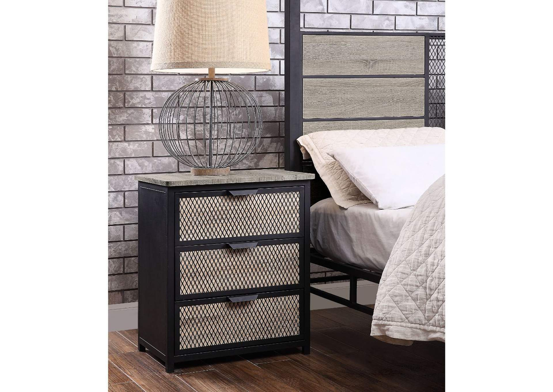 Baara Natural & Sandy Gray Nightstand,Acme