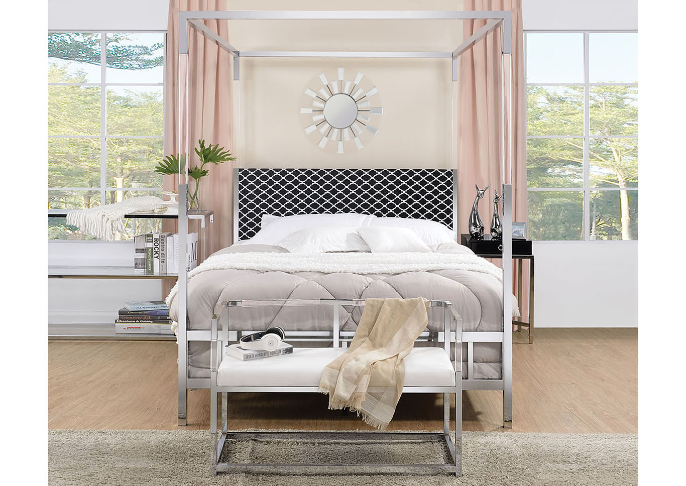 Raegan Fabric & Chrome Queen Bed,Acme