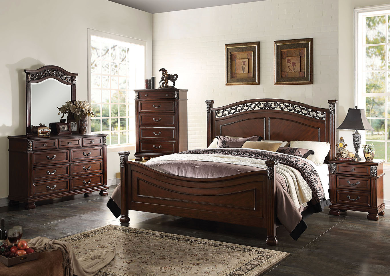 Manfred Walnut Eastern King Panel Bed w/Dresser and Mirror,Acme