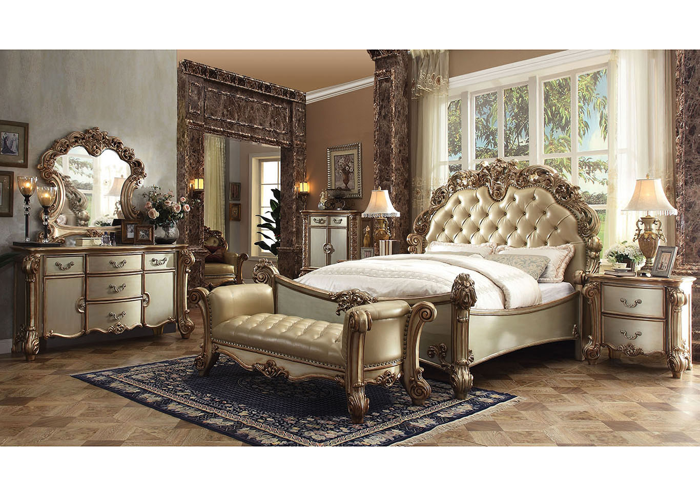 Vendome Bone/Gold Patina Queen Upholstered Bed w/Dresser and Mirror,Acme