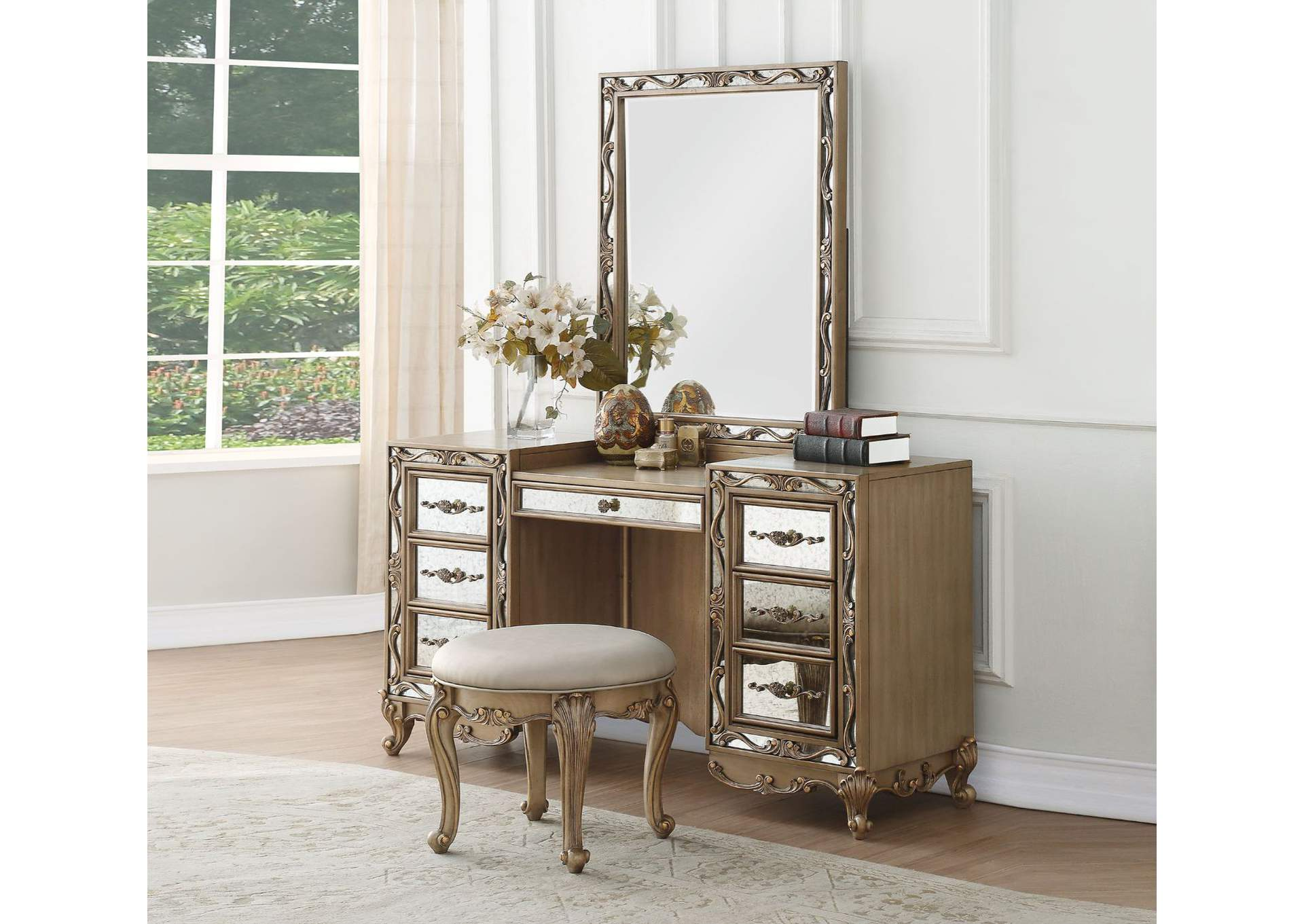 Orianne Antique Gold Vanity Desk,Acme