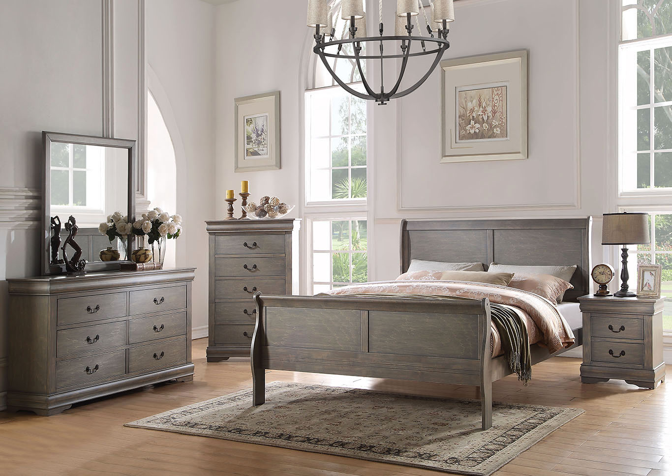 Louis Philippe Antique Gray Twin Sleigh Bed w/Dresser and Mirror,Acme