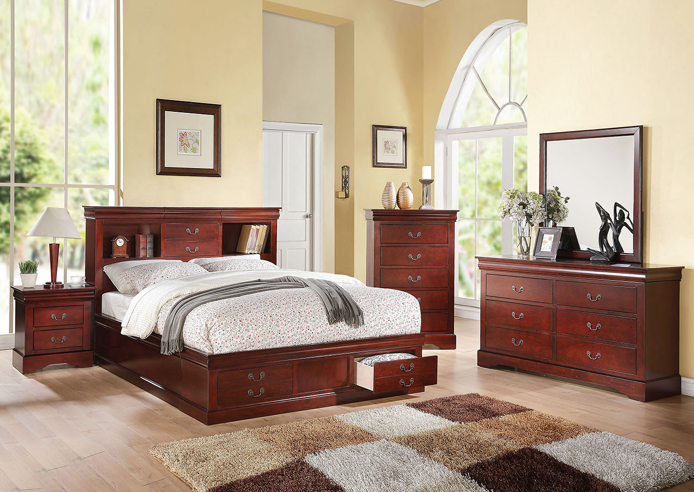 Louis Philippe III Cherry Eastern King Storage Bed w/Dresser and Mirror,Acme