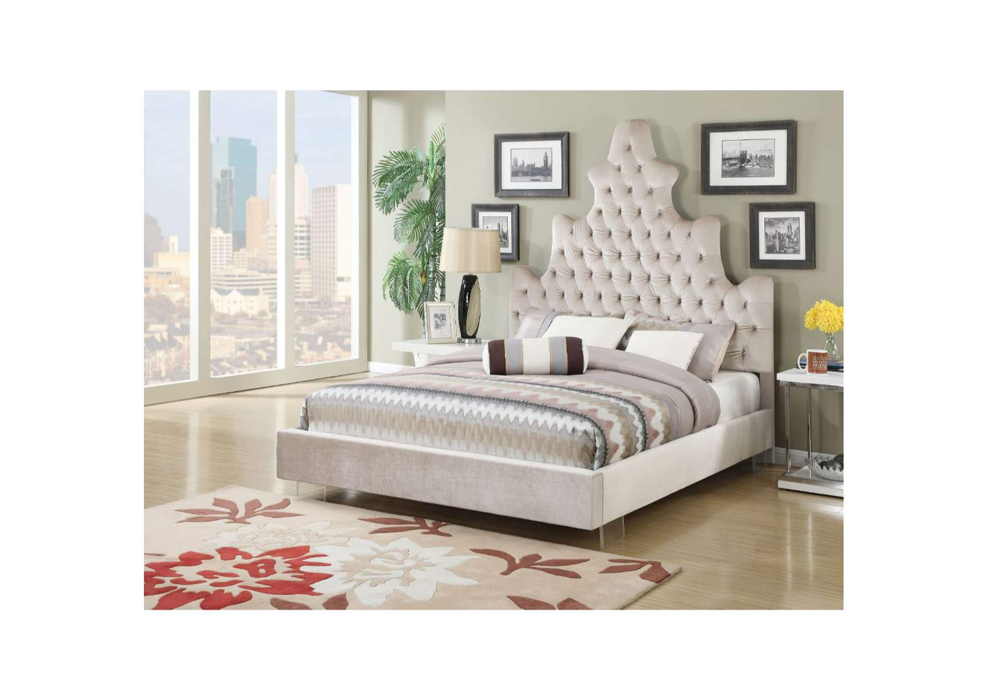 Honesty Sand Plush Queen Bed,Acme