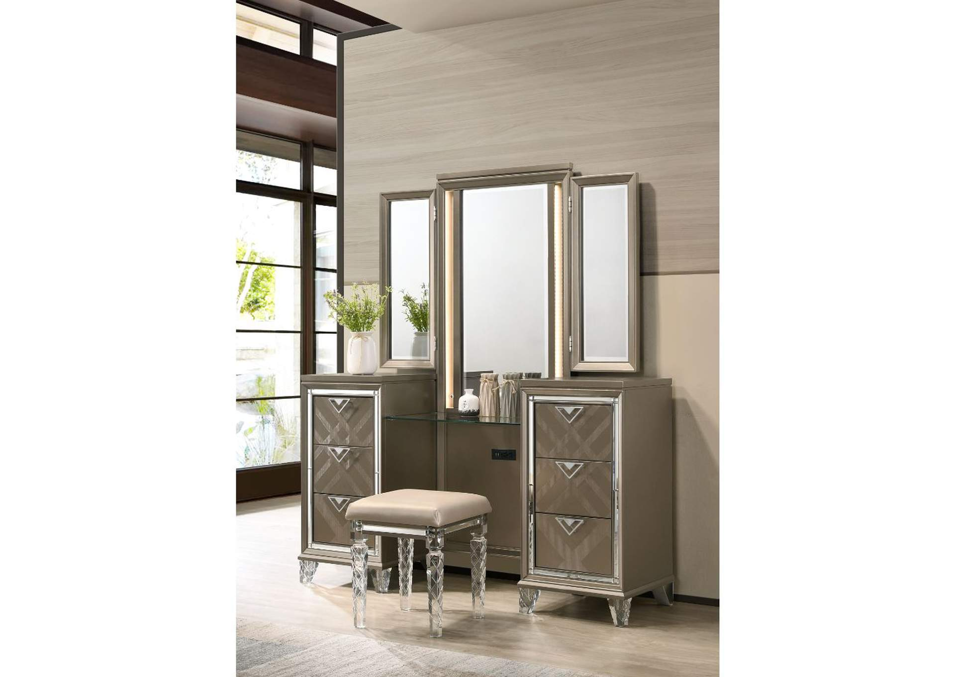 Skylar Champagne Vanity Desk Mirror and Stool,Acme