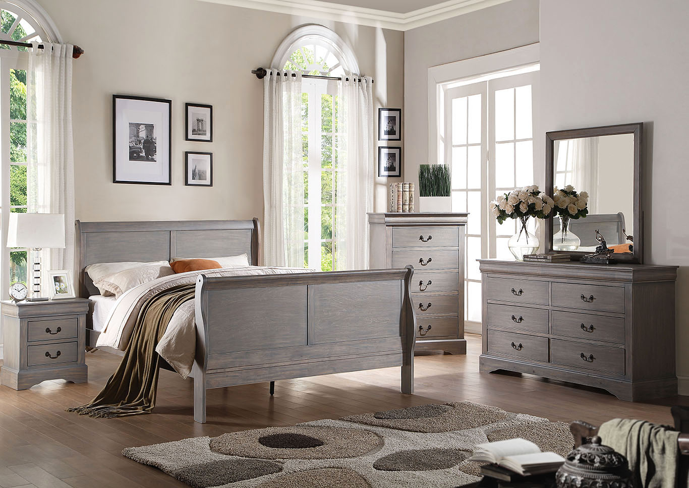 Louis Philippe III Antique Gray Eastern King Sleigh Bed w/Dresser and Mirror,Acme