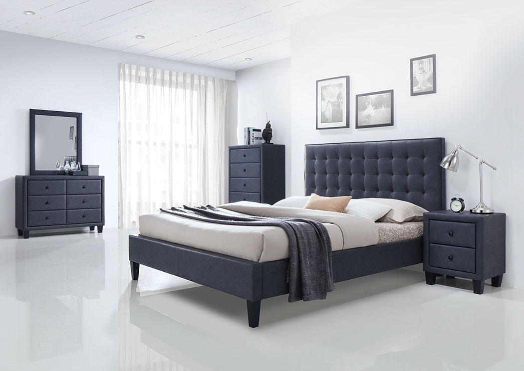 Saveria Two-Tone Gray Eastern King Platform Bed w/Dresser and Mirror,Acme