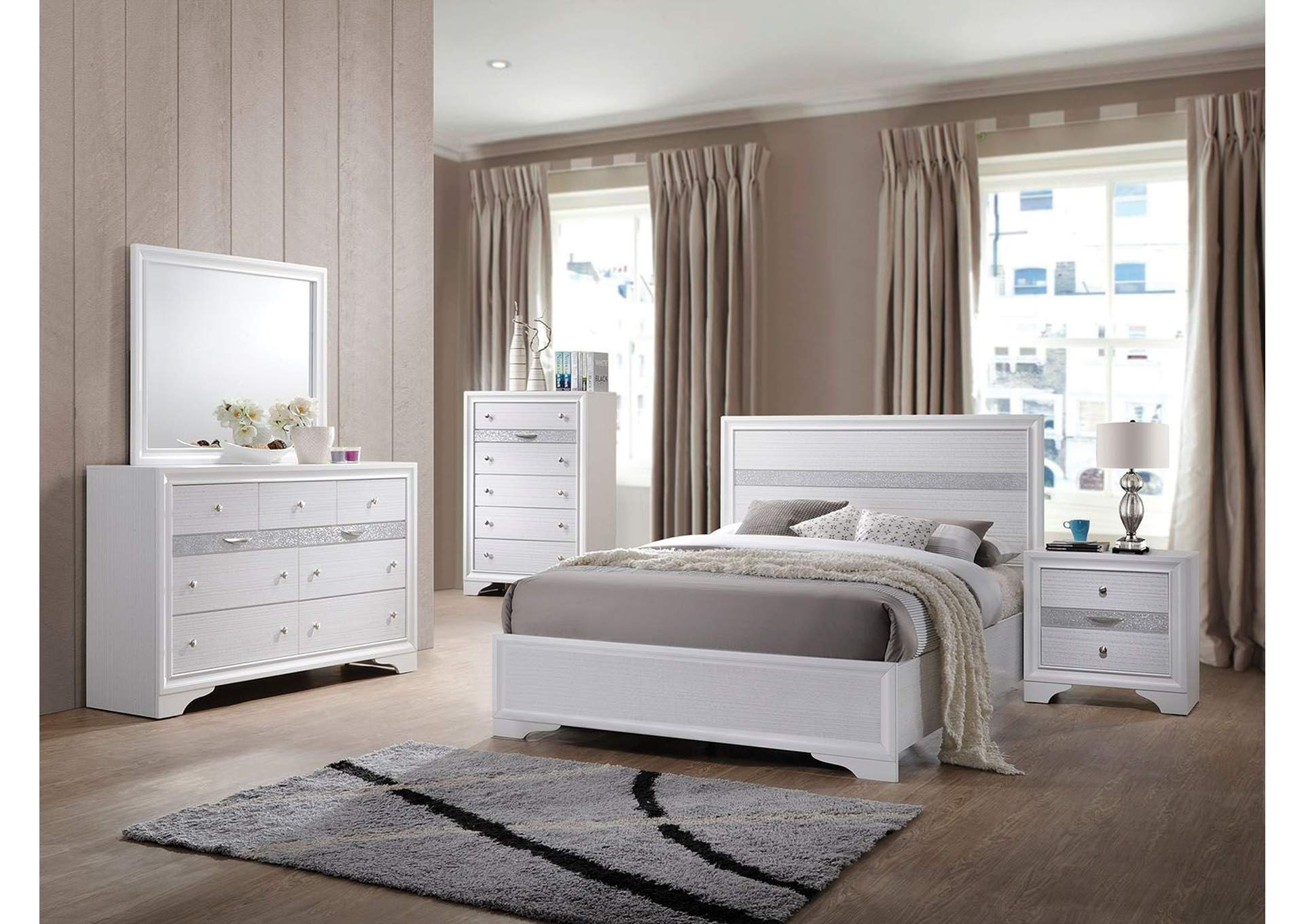 Naima White Twin Bed (No Storage),Acme