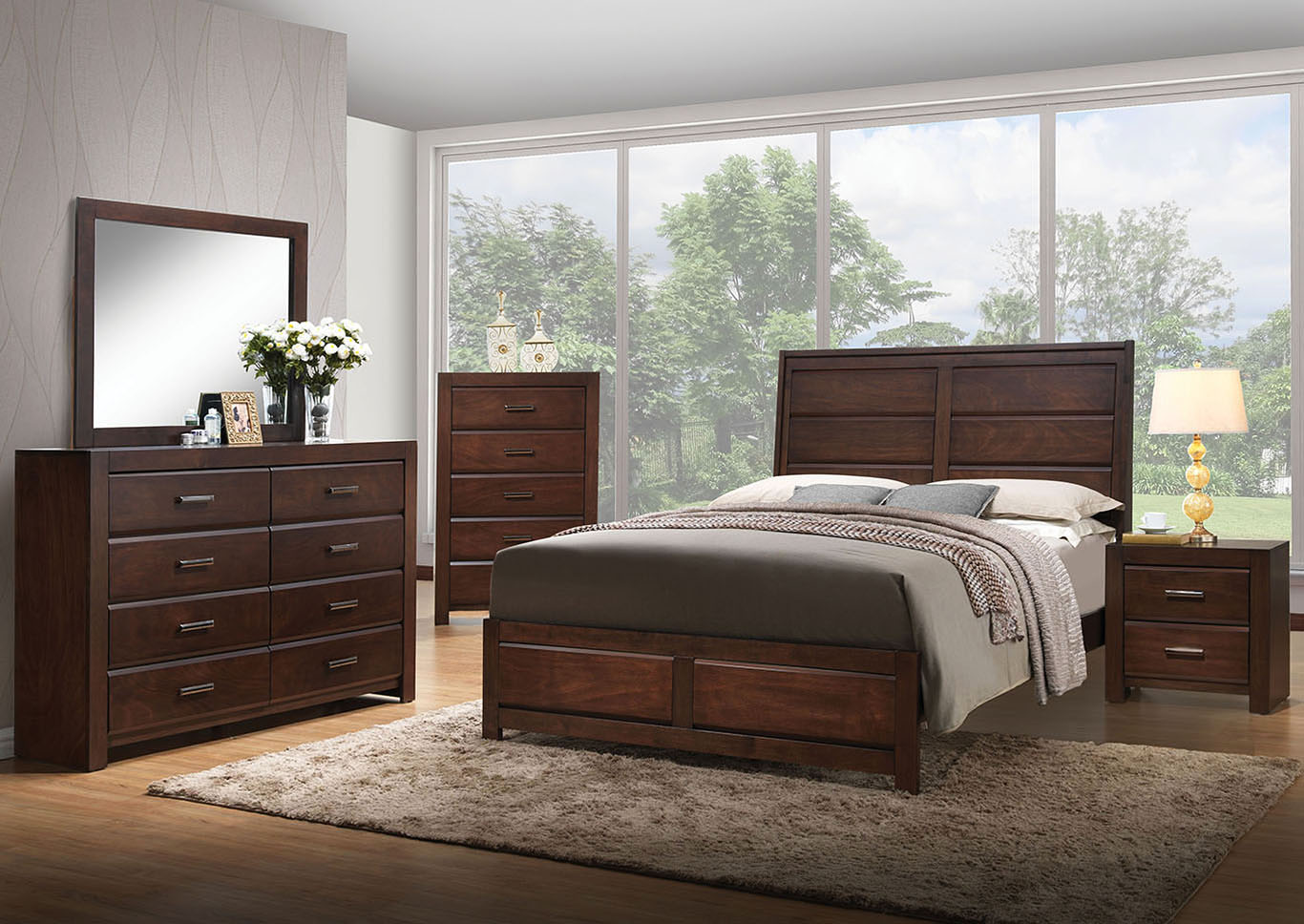 Oberreit Walnut Eastern King Panel Bed w/Dresser and Mirror,Acme