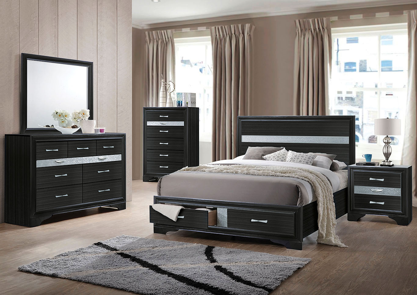 Naima Black Queen Bed,Acme