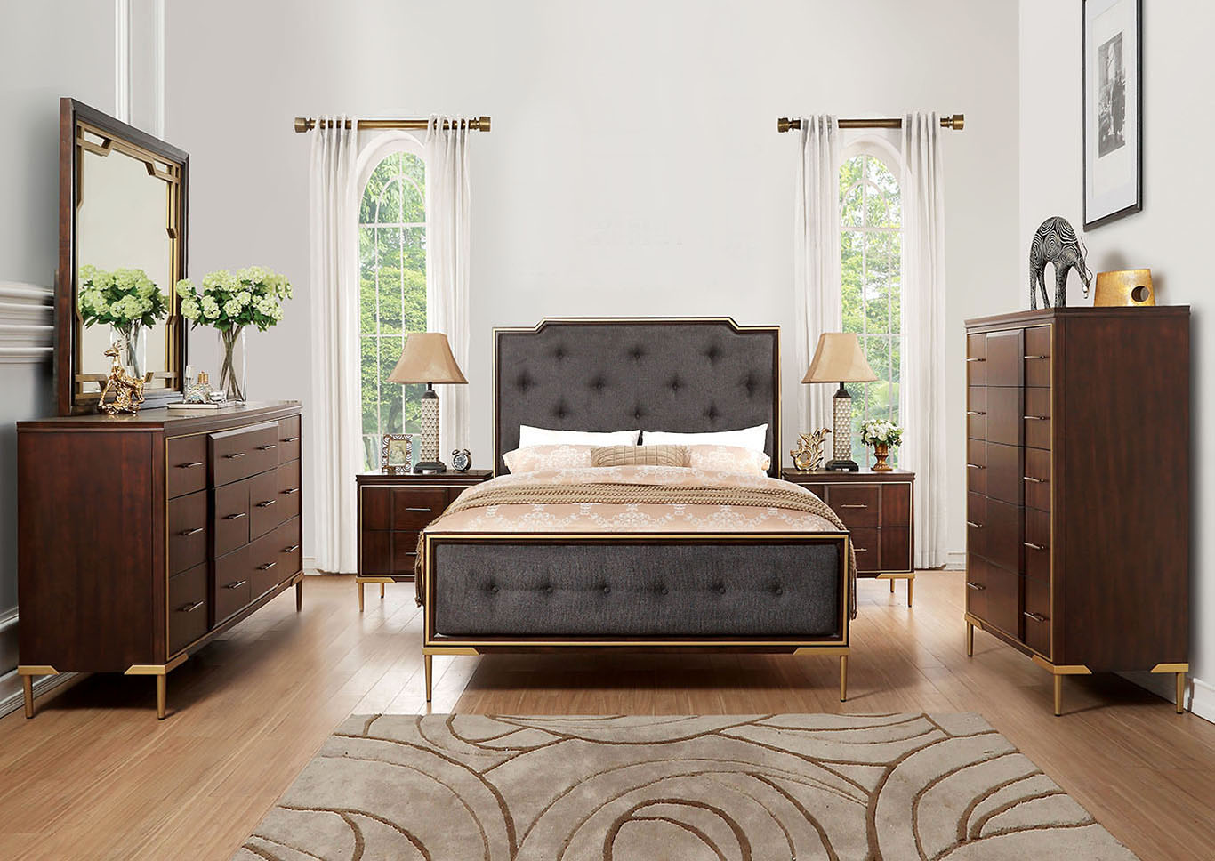 Eschenbach Brown/Cherry Upholstered Queen Panel Bed w/Dresser and Mirror,Acme