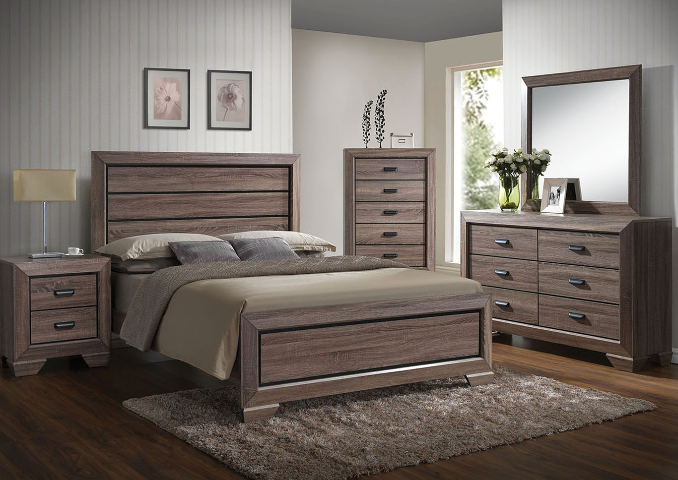 Lyndon Weathered Gray Eastern King Panel Bed w/Dresser and Mirror,Acme