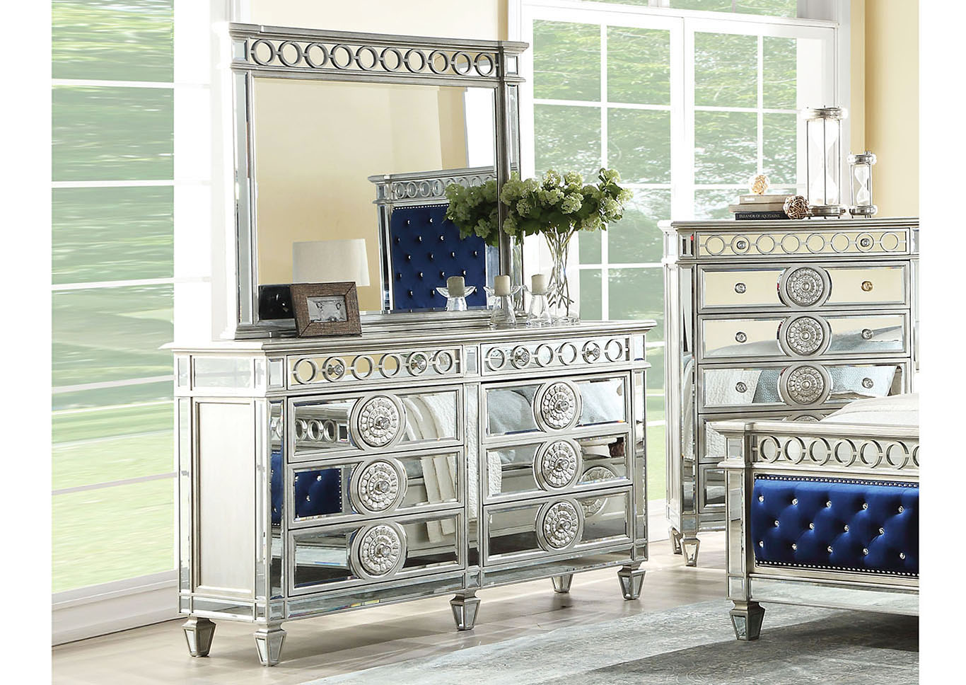 Varian Silver Dresser and Mirror,Acme