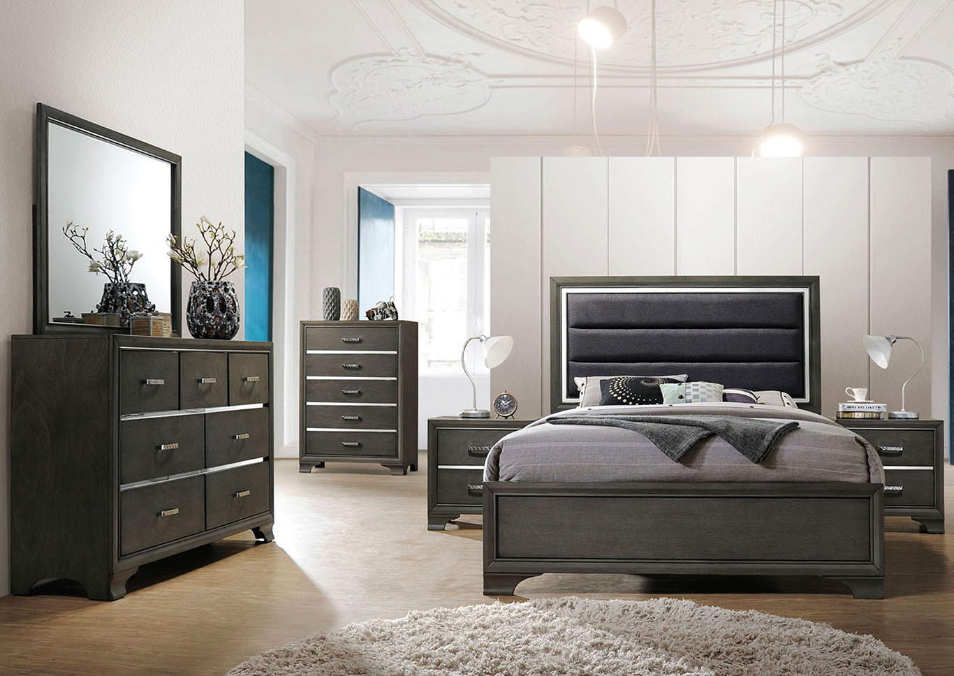 Carine II Gray Queen Bed,Acme