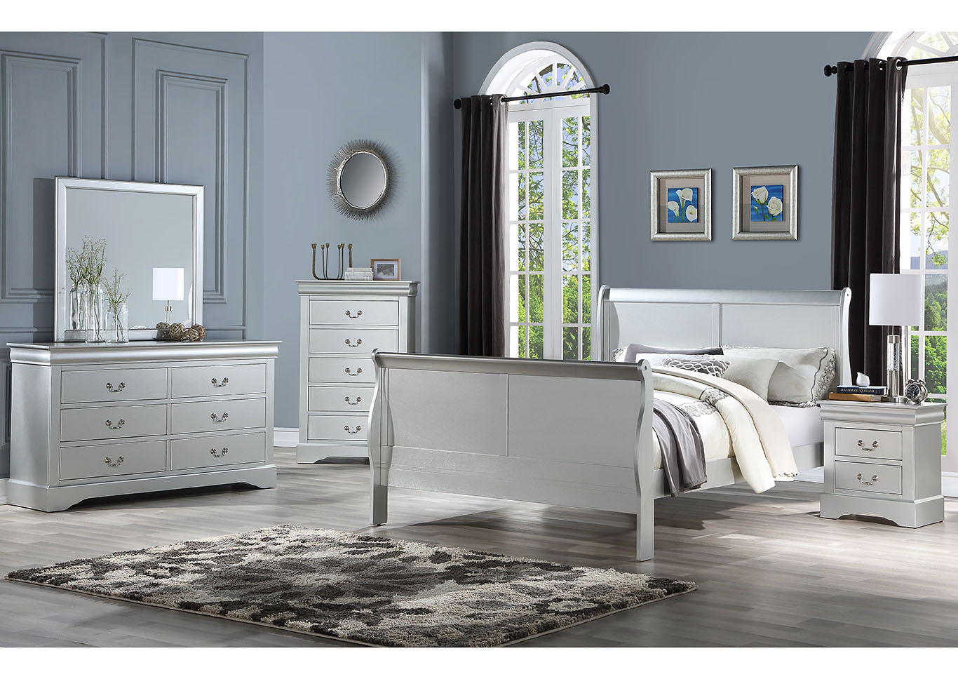 Louis Philippe Iii Platinum Queen Bed Express Furniture Outlet