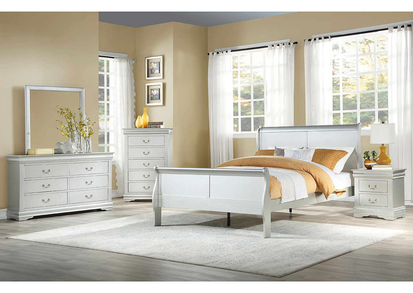 Louis Philippe Platinum Eastern King Sleigh Bed w/Dresser and Mirror,Acme