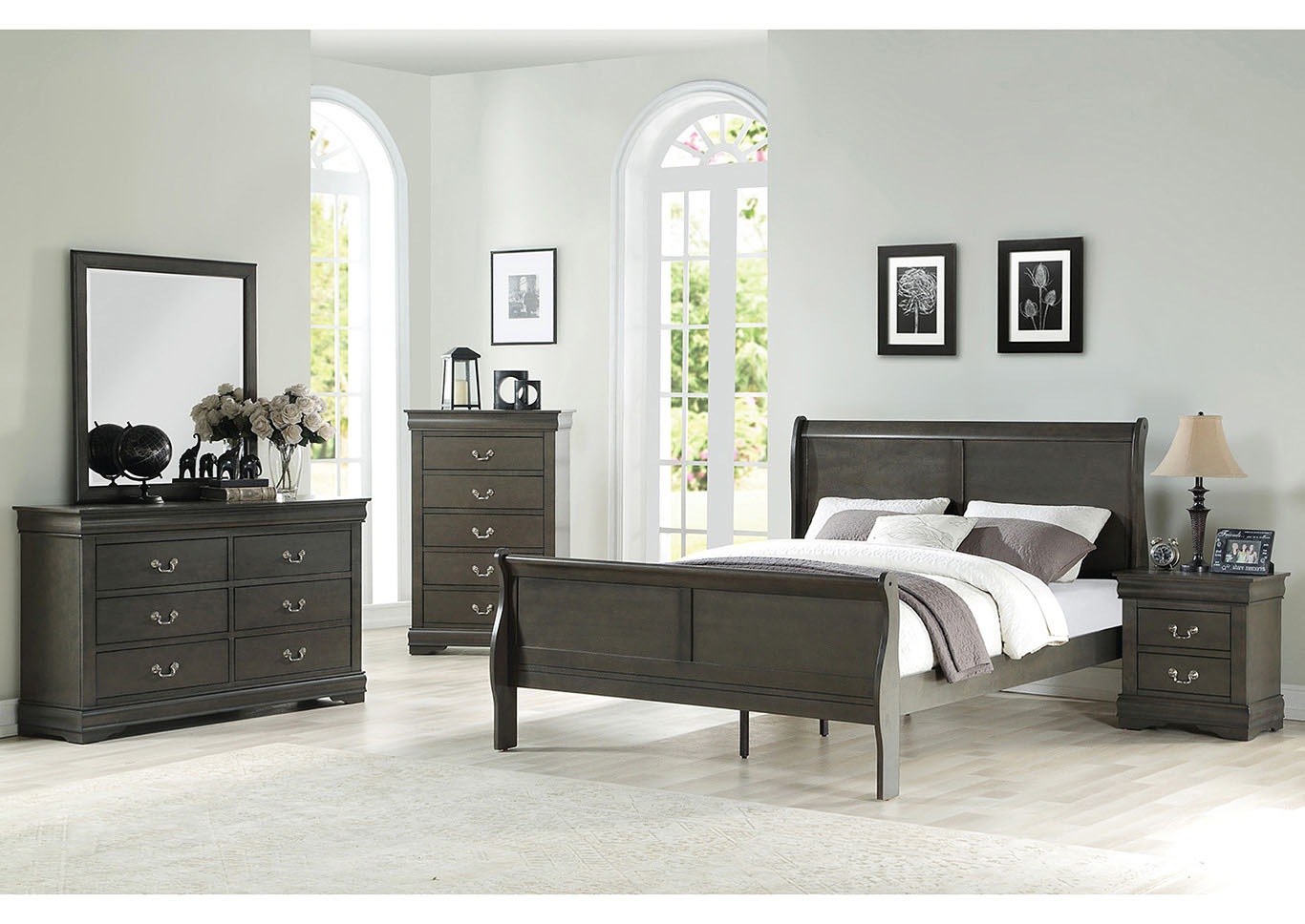 Louis Philippe Grey Eastern King Sleigh Bed w/Dresser and Mirror,Acme