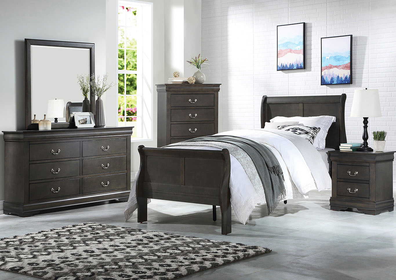 Louis Philippe Grey Full Sleigh Bed w/Dresser and Mirror,Acme