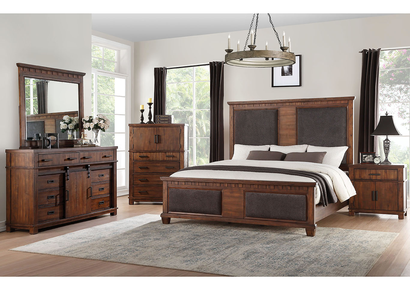 Vibia Cherry Oak Queen Platform Bed w/Dresser and Mirror,Acme